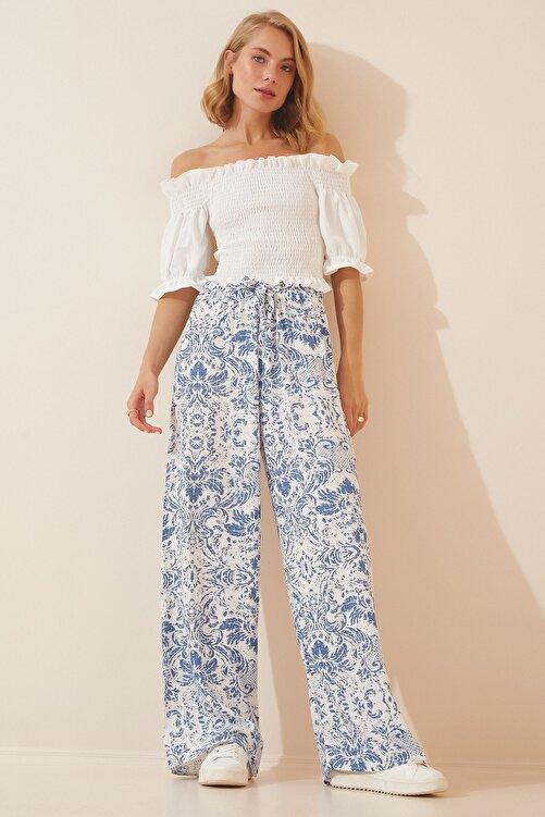 Happiness İst. Kadın Mavi Beyaz Yüksek Bel Yazlık Bol Viskon Pantolon BH00354 1