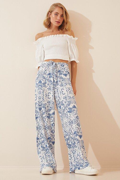 Happiness İst. Kadın Mavi Beyaz Yüksek Bel Yazlık Bol Viskon Pantolon BH00354 2