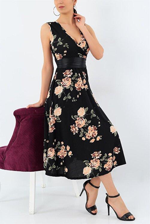 Butik Şımarık Kadın Büyük Beden Krep Kumaş Sıfır Kol Kemer Dahil Kruvaze Yaka Gül Desenli Elbise Boy 120cm 1