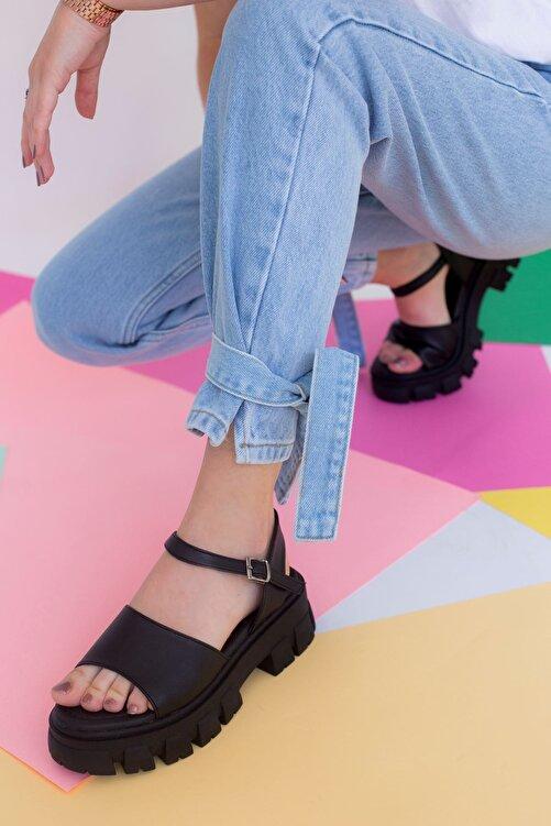 yesh Linber Mat Deri Yumuşak Pedli Sandalet 1