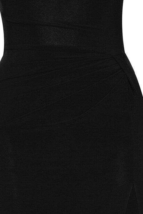 Whenever Company Siyah Derin Yırtmaçlı Drapeli Uzun Abiye Elbise 2