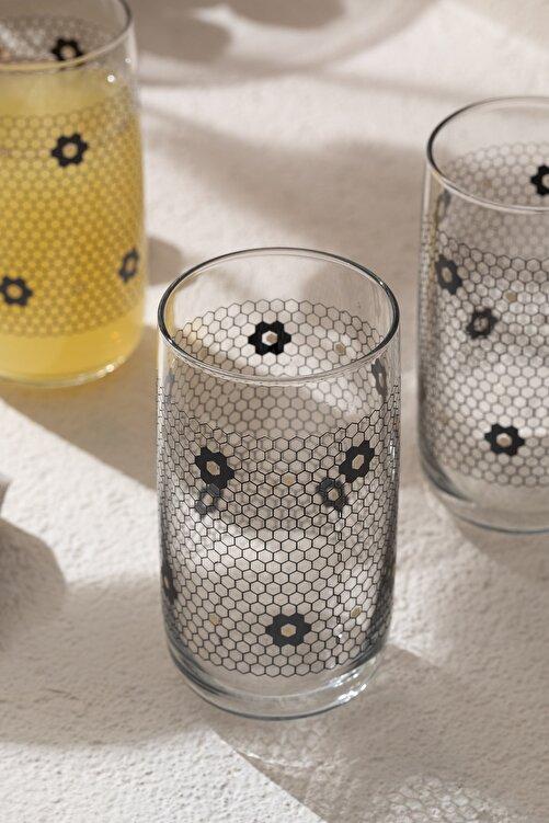English Home Denby Flowery Cam 3'lü Meşrubat Bardağı 365 Ml Siyah-gold 2