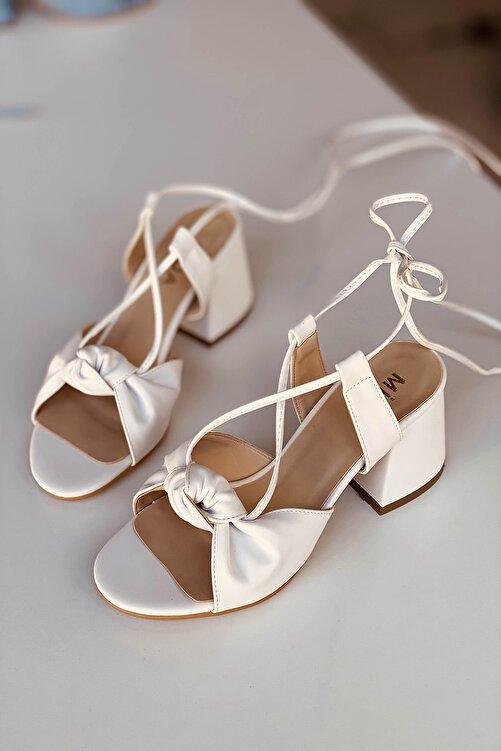 Mida Shoes Beyaz Deri Bağıcıklı Topuklu Ayakkabı 2