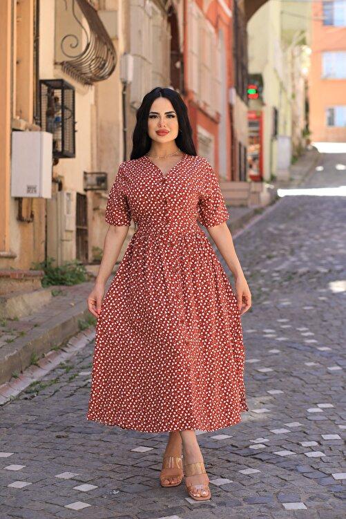 LİLA İSTANBUL V Yaka Viskon Kumaş Kalp Desenli Yazlık Elbise 2