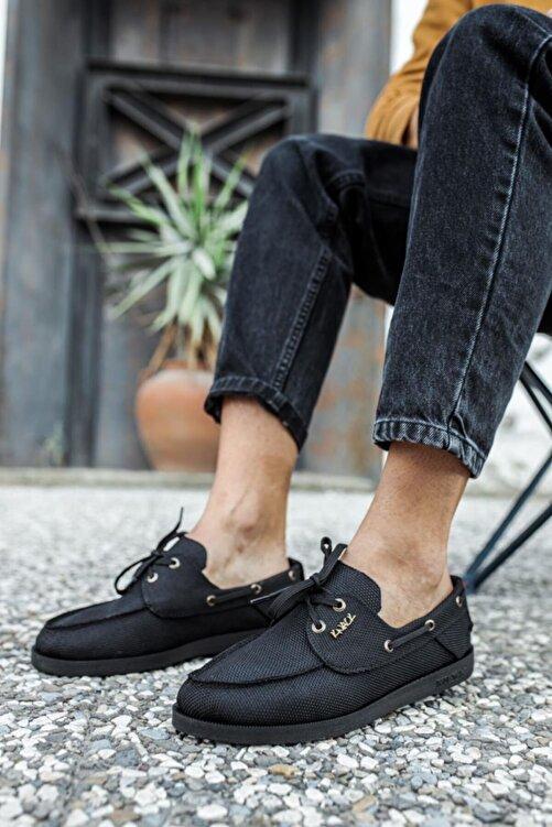 Knack Erkek Siyah  Mevsimlik Keten Ayakkabı 1