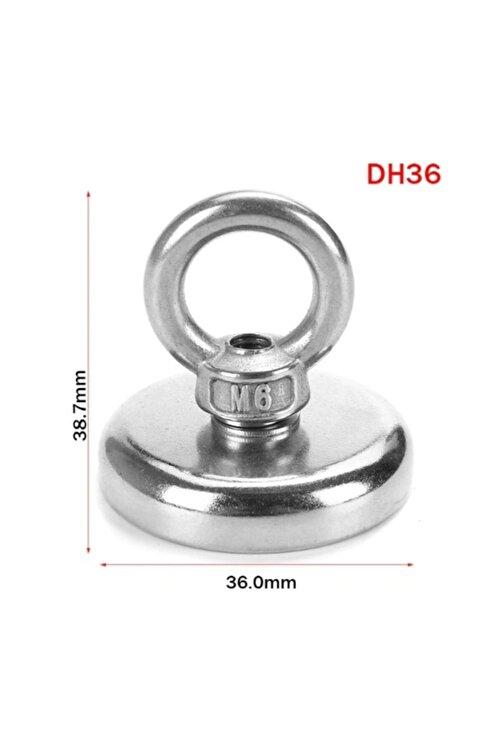 Dünya Magnet Güçlü Halkalı Neodyum Pot Mıknatıs - 36mm Çap - Kanca Kurtarma Mıknatısı Fishing Magnet + 25 M Halat 2