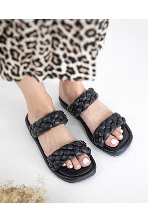wolk shoes Milk Örgü Terlik Siyah 1