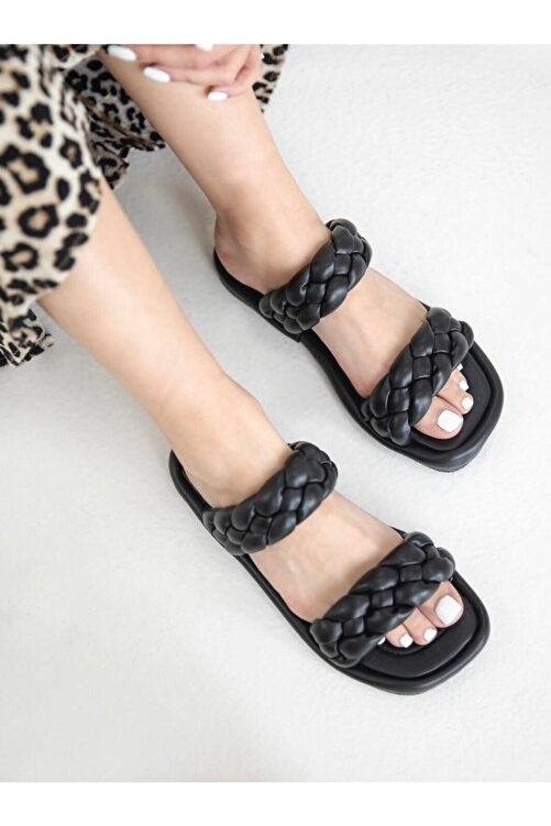 wolk shoes Milk Örgü Terlik Siyah 2