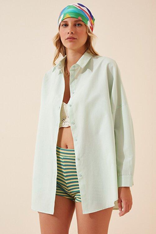 Happiness İst. Kadın Uçuk Yeşil Oversize Uzun Basic Gömlek  DD00842 2