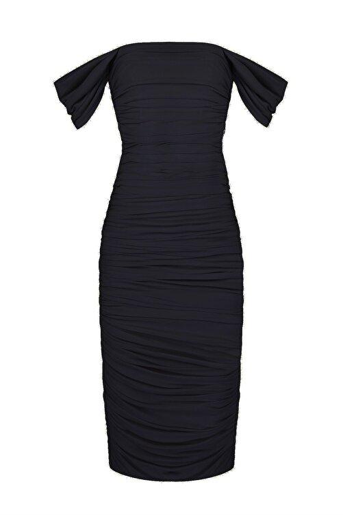 Whenever Company Siyah Düşük Kol Degajeli Drapeli Midi Elbise 1