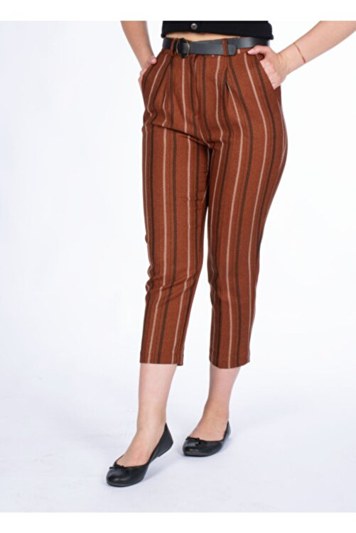 Vision Kadın Kiremit Kemer Detaylı Pantolon 1