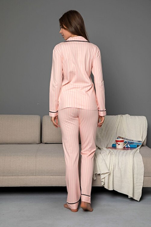 Siyah İnci Somon Pamuklu Likrali Biyeli Düğmeli Pijama Takım 2