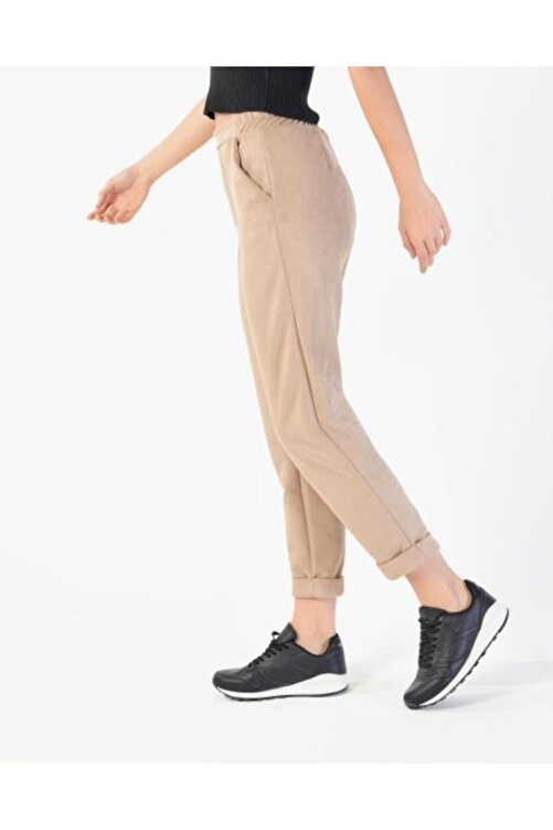 Vision Kadın Bej Katlama Paça Süet Pantolon 2