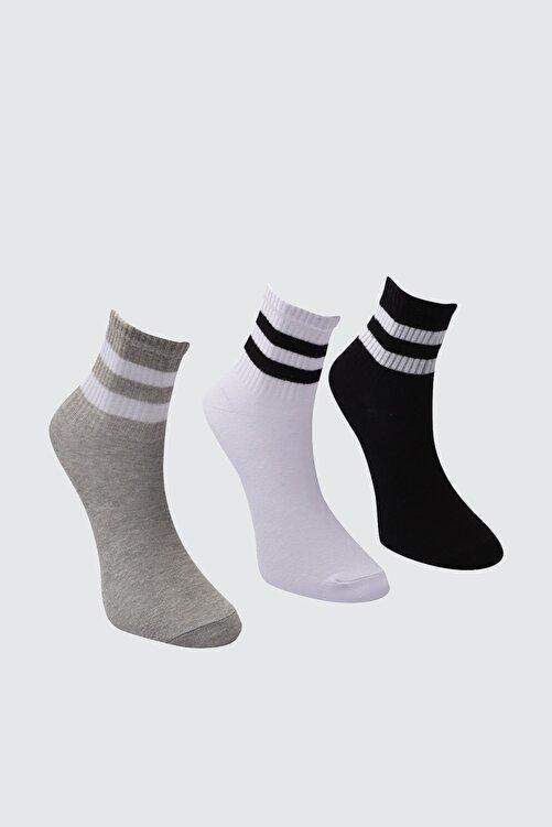 TRENDYOLMİLLA Beyaz Şerit Detaylı 3'lü Paket Örme Çorap TWOAW20CO0054 2