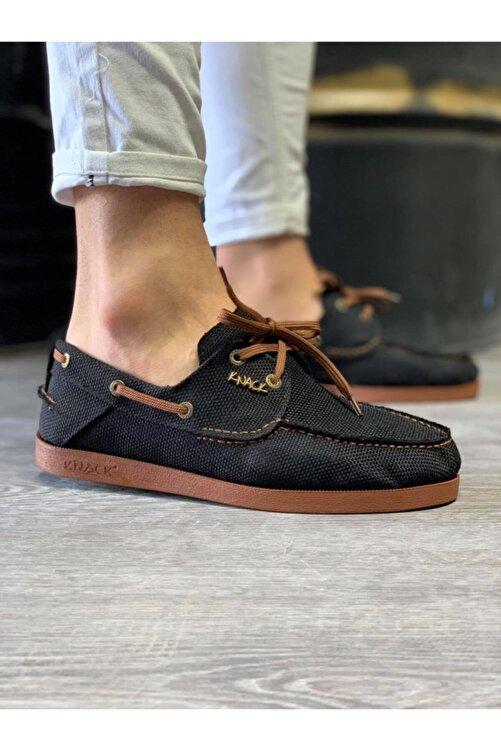 Knack Mevsimlik Keten Ayakkabı 008 Siyah (taba Taban) 1