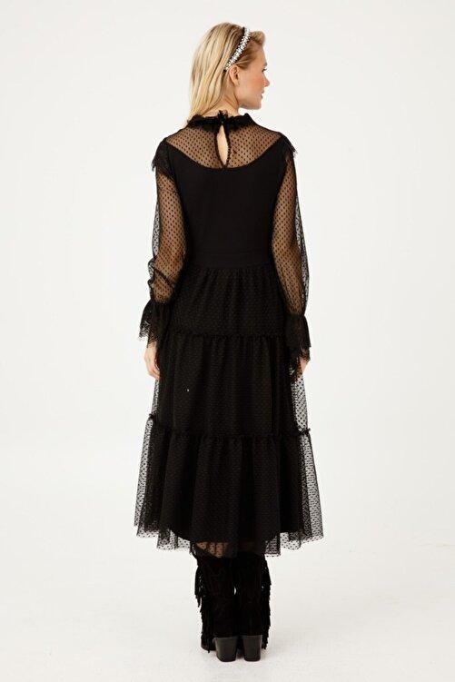 Ekol Kadın Siyah Tül Detaylı Uzun Kollu Dik Yaka Elbise 04075 2