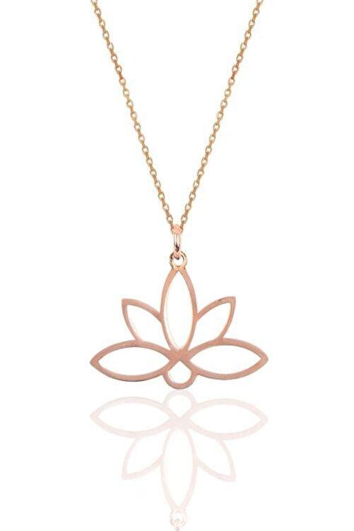 Papatya Silver 925 Ayar Rose Altın Kaplama Gümüş Lotus Çiçeği Kolye 1