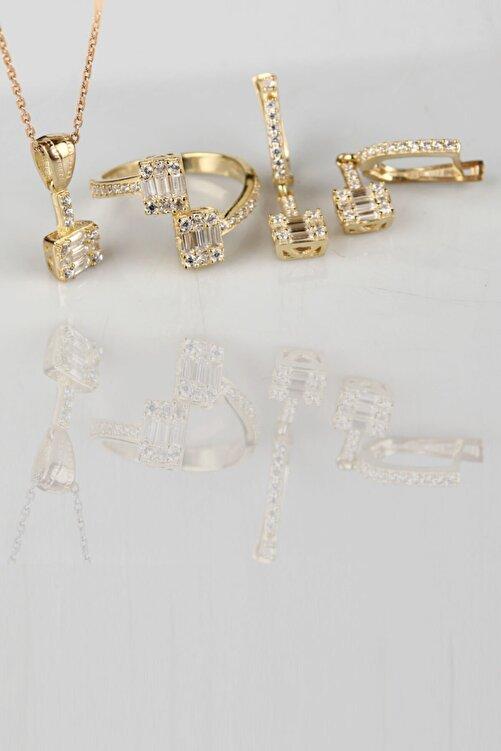 Tmec Silver 925 Ayar Gümüş Baget Taşlı Gold Takı Seti 1