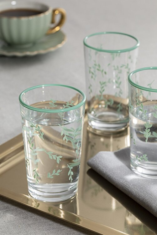 English Home Rosalinda 4 Cam 6'lı Kahve Yanı Su Bardağı 100 Ml Su Yeşili 1