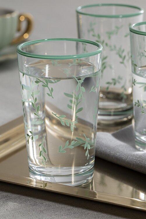 English Home Rosalinda 4 Cam 6'lı Kahve Yanı Su Bardağı 100 Ml Su Yeşili 2