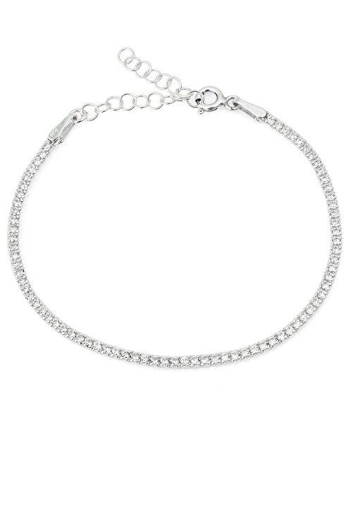 Elika Silver Kadın Beyaz Zirkon Taşlı Su Yolu Kadın Gümüş Bileklik 1