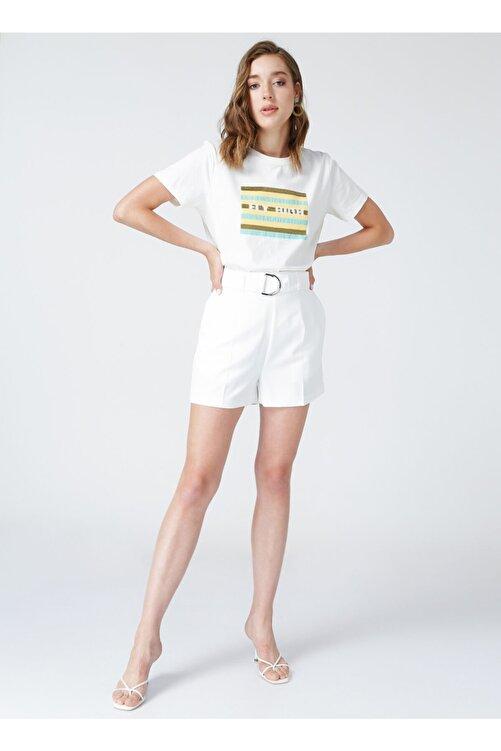 Fabrika Bisiklet Yaka Beyaz Nakışlı Kadın T-shirt 2
