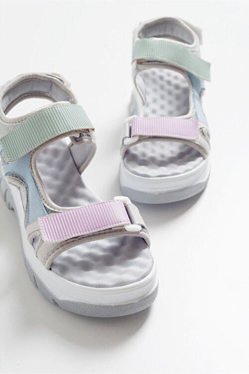 LuviShoes Kadın Gri Sandalet 4740 1