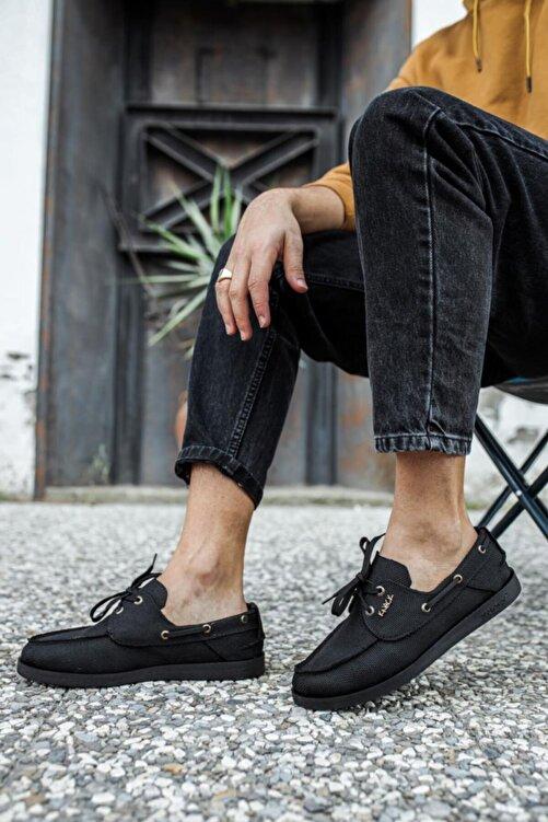 Knack Erkek Siyah  Mevsimlik Keten Ayakkabı 2