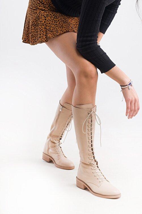 LuviShoes 6636 Bej Flother Kadın Çizme 1