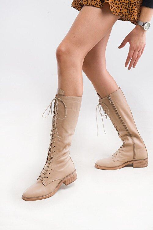 LuviShoes 6636 Bej Flother Kadın Çizme 2