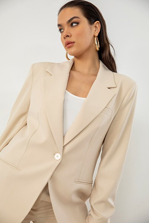Jojua Kadın Bej Retro Palazzo Ceket Pantolon Takım 2
