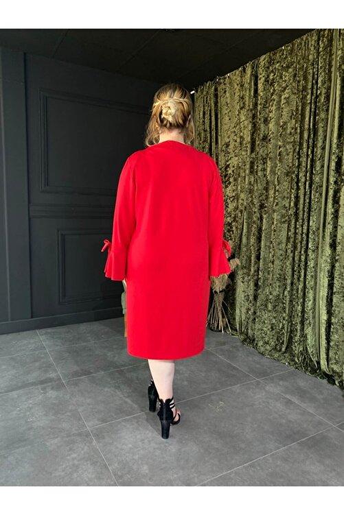 Roxxlen Kadın Kırmızı Büyük Beden Elbise Side - 3765 2