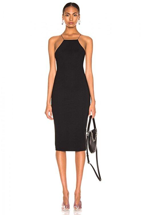 By Umut Design Kadın Siyah İnce Lastikli Çapraz Sırt Dekolteli Elbise 4555149 1