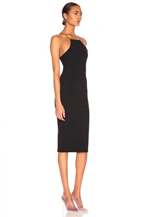 By Umut Design Kadın Siyah İnce Lastikli Çapraz Sırt Dekolteli Elbise 4555149 2