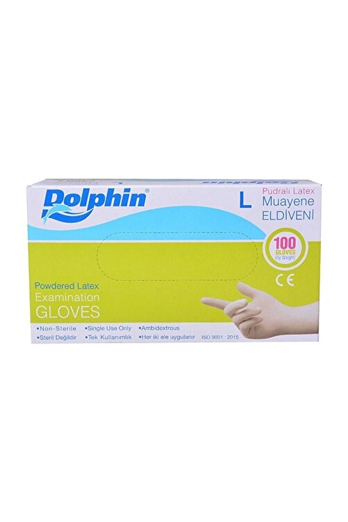 Dolphin Cerrahi Eldiven Pudralı Latex L 100 Lü 1