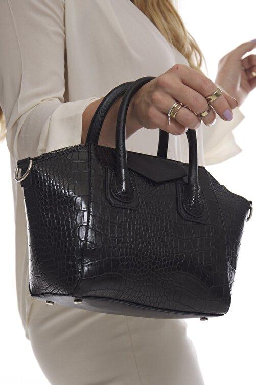 Fume London Siyah Kroko Kadın Omuz Ve El Çantası Fb3151 1