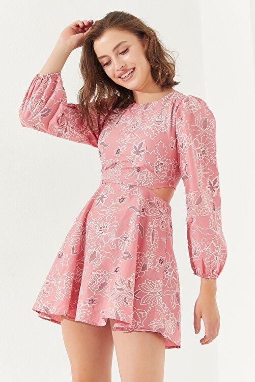 Reyon Kadın Sırt Dekolteli Astarlı Mini Elbise Pudra 1
