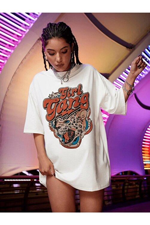Millionaire Kadın Girl Gang Beyaz Oversize T-shirt 1