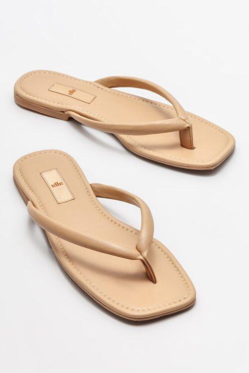 Elle Shoes Naturel Kadın Parmakarası Terlik 2