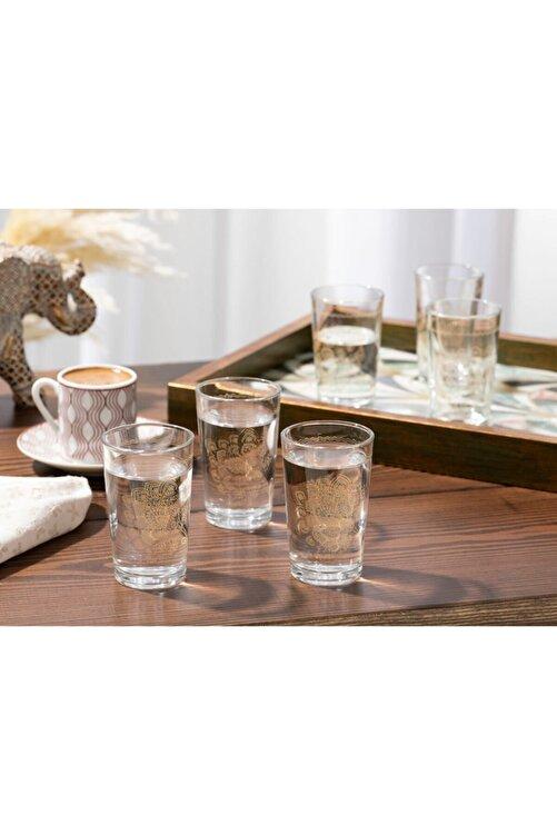 English Home Luba Cam 6'lı Kahve Yanı Su Bardağı 100 Ml Gold 1