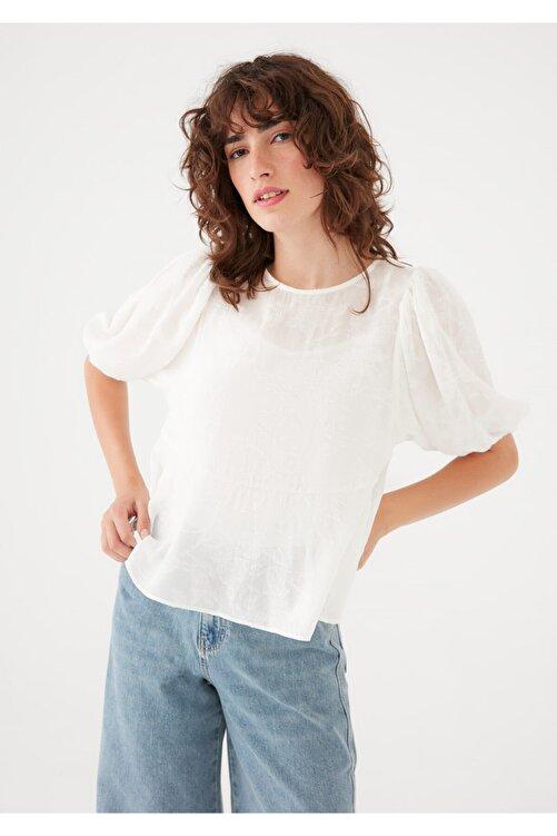 Mavi Kısa Kollu Beyaz Bluz 122785-33389 1