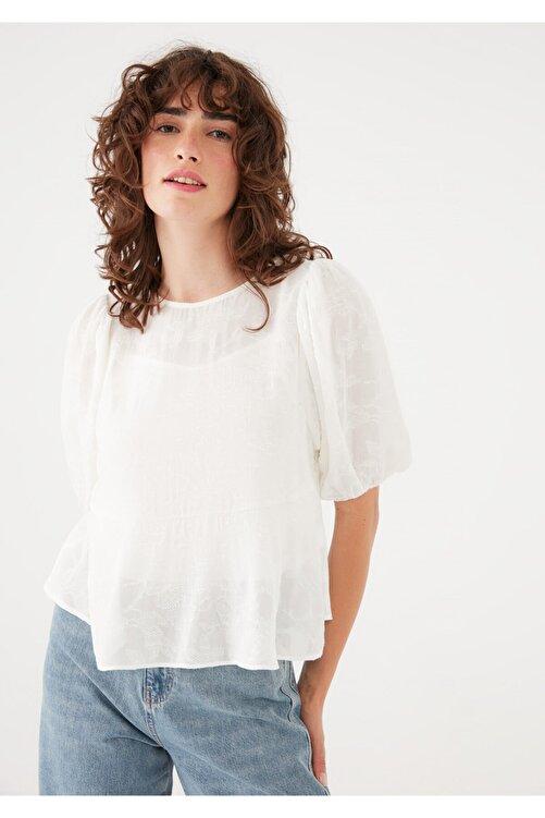 Mavi Kısa Kollu Beyaz Bluz 122785-33389 2