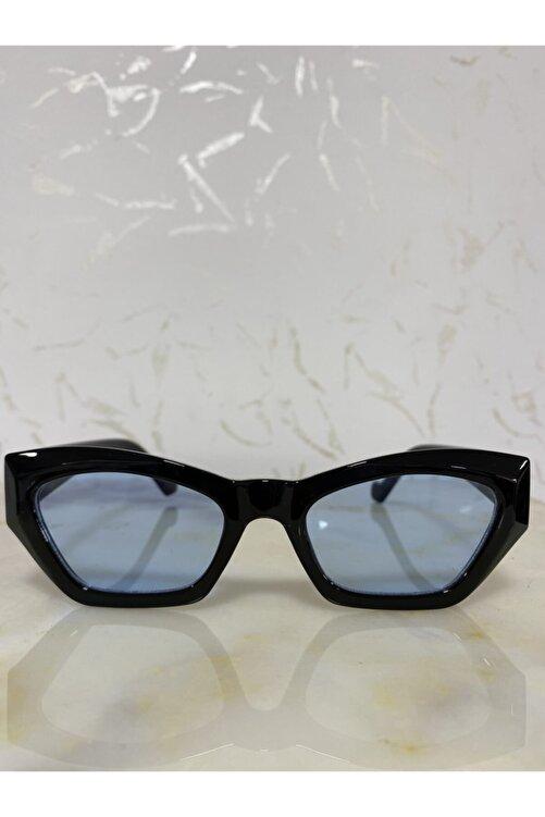 LOOKUP Kadın Mavi Siyah Retro Cat Eye Güneş Gözlüğü Zvhrk-2136 1