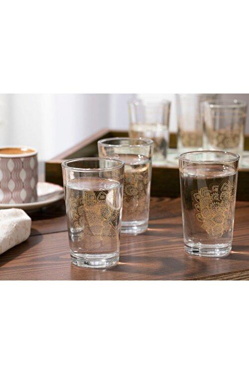 English Home Luba Cam 6'lı Kahve Yanı Su Bardağı 100 Ml Gold 2