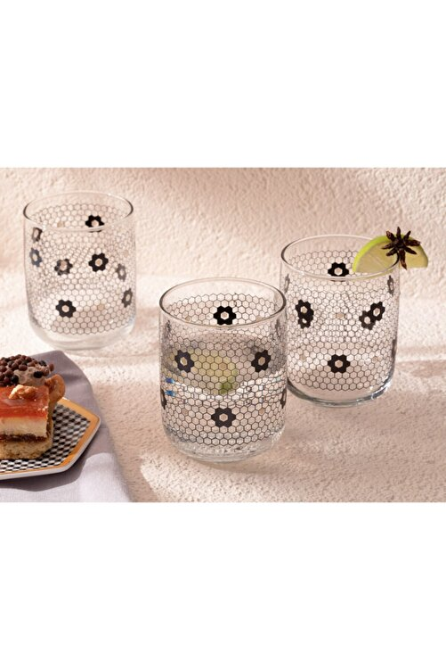 English Home Denby Flowery Cam 3'lü Meşrubat Bardağı 270 Ml Siyah-gold 1