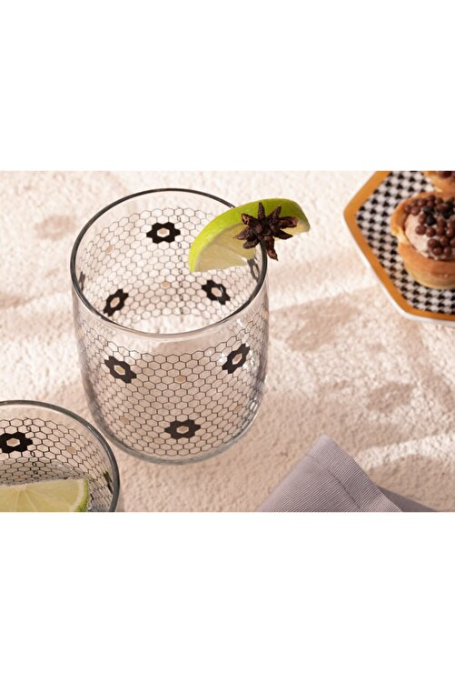 English Home Denby Flowery Cam 3'lü Meşrubat Bardağı 270 Ml Siyah-gold 2