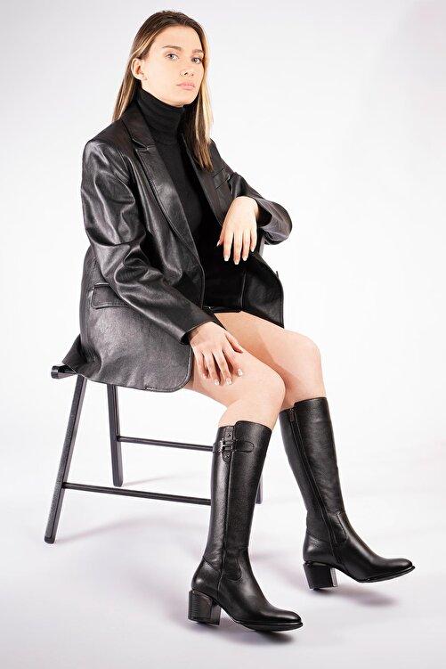 CZ London Hakiki Deri Kadın Çizme Fermuarlı Tokalı Kışlık Ayakkabı 2