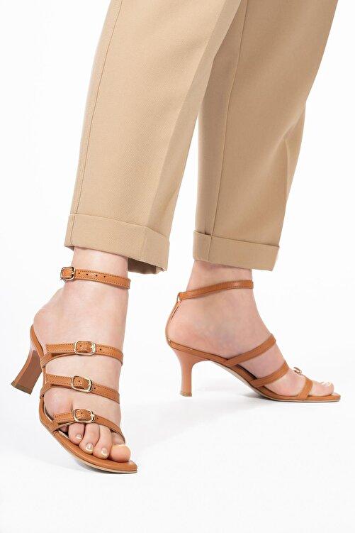 CZ London Kadın Kahverengi Hakiki Deri Topuklu Sandalet 1