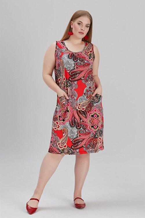 MİHRAMOR Kadın Büyük Beden Cepli Ve Desenli Elbise Kırmızı 1