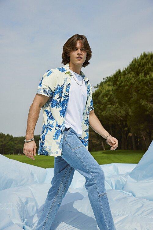 TRENDYOL MAN Saks Erkek Regular Fit Gömlek Yaka Kısa Kol Çiçekli Gömlek TMNSS20GO0221 1
